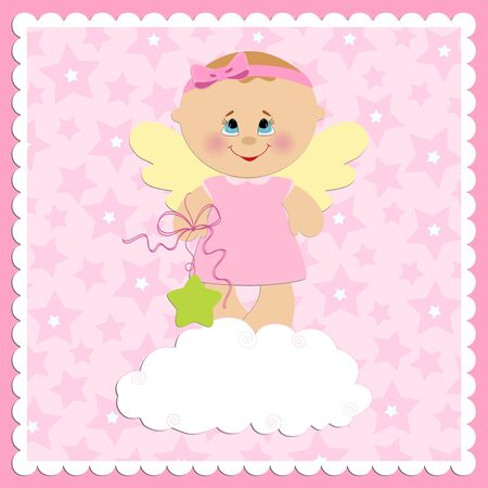 Baby greetings card with girl angel Vector