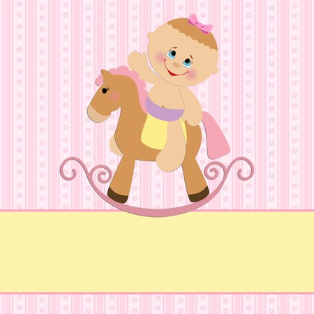 Baby greetings card with girl and horse Vector