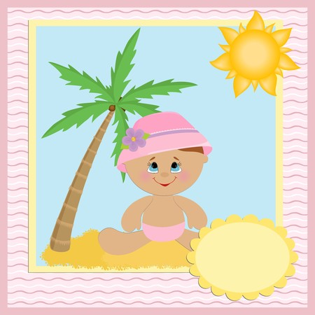 Blank template for babys greetings card or postcard with coconut tree Vector