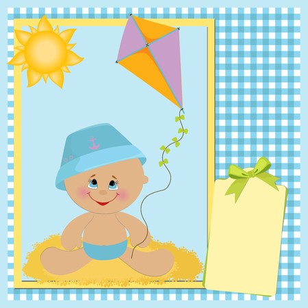 Blank template for babys greetings card or postcard with kite Vector
