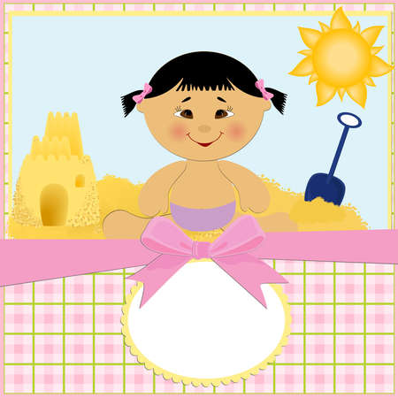 Blank template for baby's greetings card or postcard with sand castle Stock Vector - 8181521
