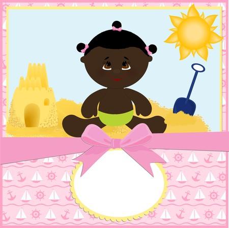 castle sand: Plantilla en blanco para la tarjeta de saludos de beb� o postal con el castillo de arena