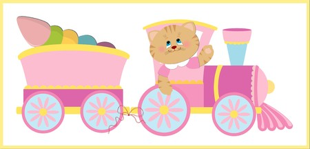 Babys illustration with kitty and pink train Vector