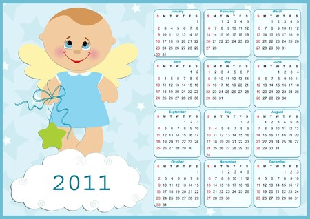 Babys calendar for year 2011 Vector