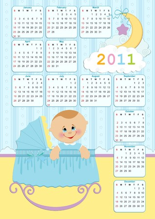 Babys calendar for year 2011 Vector