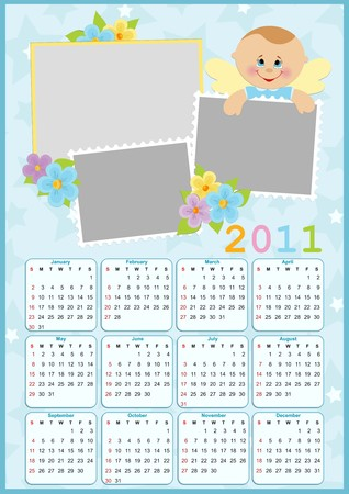 Babys calendar for year 2011 with photo frames Vector