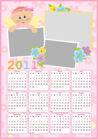 Babys calendar for year 2011 with photo frame  Vector