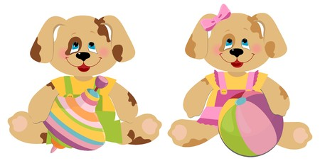 Illustration of cuple of toy dogs Vector