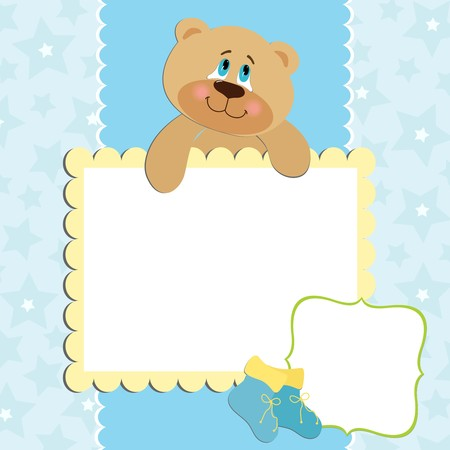 Blank template for greetings card or photo frame in blue colors Stock Vector - 8265161