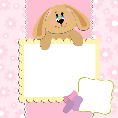 Blank template for greetings card or photo frame in pink colors Stock Vector - 8265149