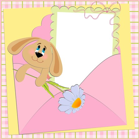 Blank template for greetings card or photo frame in pink colors Vector