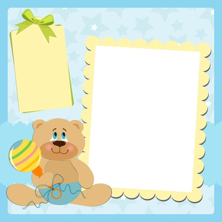arrive: Blank template for greetings card or photo frame in blue colors
