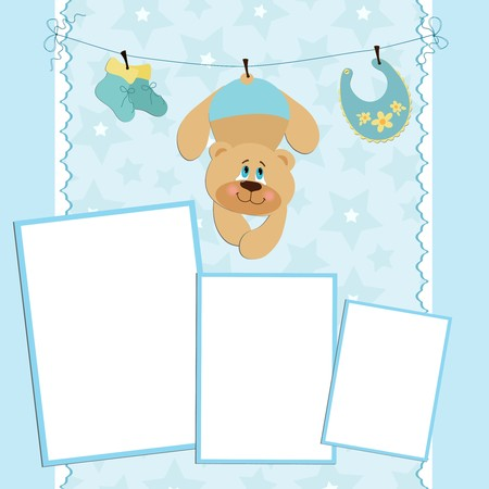 Blank template for greetings card or photo frame in blue colors Vector