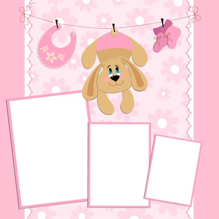 bootees: Blank template for greetings card or photo frame in pink colors