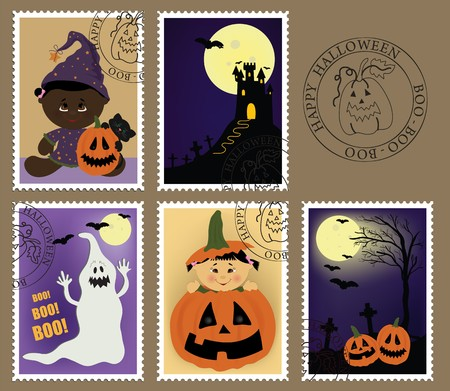 Babys postage marks and stamps with halloween theme (EPS10) Vector