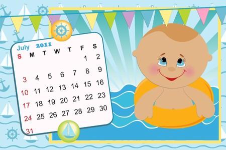 Babys monthly calendar for july 2011 Vector