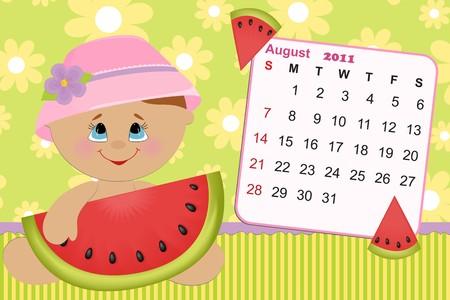 Babys monthly calendar for august 2011 Vector