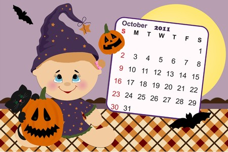 Babys monthly calendar for october 2011 Vector