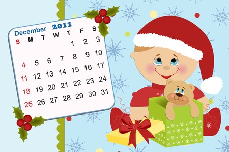 Baby's monthly calendar for december 2011 Stock Vector - 8265332