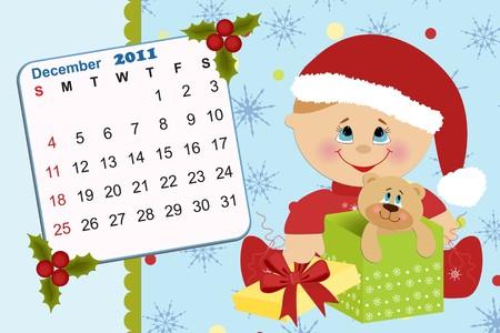 Baby's monthly calendar for december 2011 Stock Vector - 8265332