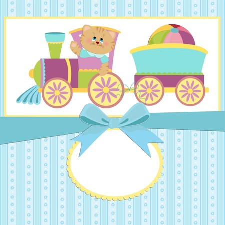 Babys greetings card with toy cat, train and ball Vector