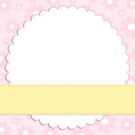 Blank template for greetings card in pink colors Vector