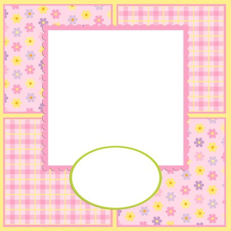 Blank template for greetings card or photo frame in pink colors Stock Vector - 8265175