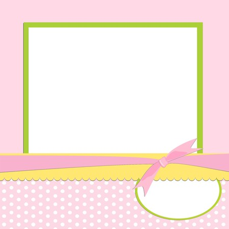 Blank template for greetings card or photo frame in pink colors Stock Vector - 8265110