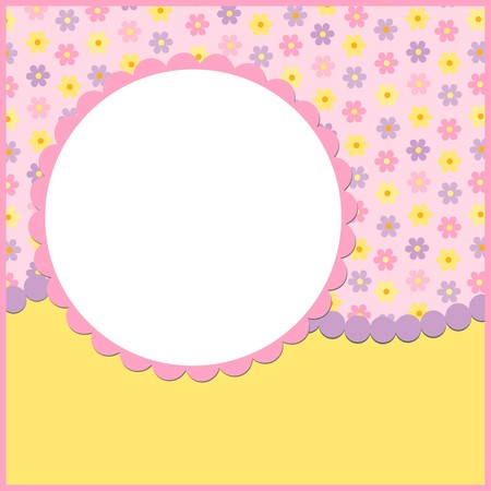 Blank template for greetings card or photo frame in pink colors Stock Vector - 8265157