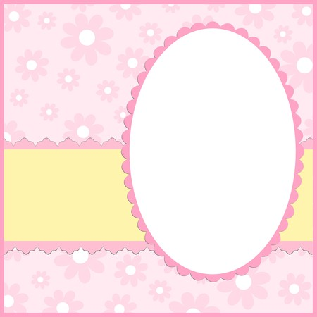 samples: Blank template for greetings card or photo frame in pink colors