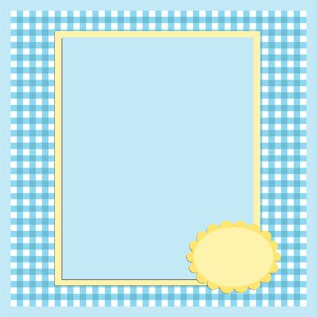 Blank template for greetings card or photo frame in blue colors Stock Vector - 8265186