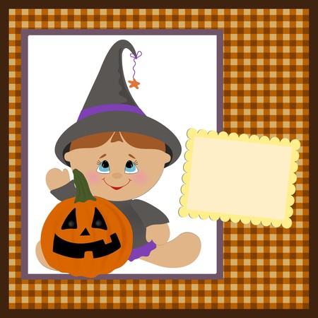 Blank template for halloween greetings card or photo frame  Vector