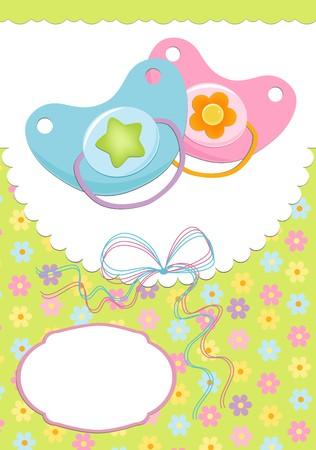 Tarjeta de saludos de bebé con maniquíes de gemelos