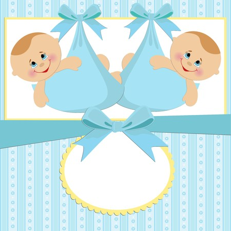twins: Template for babys postcard with twins