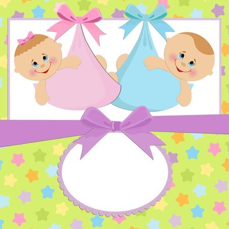 쌍둥이가있는 아기 엽서 용 템플릿