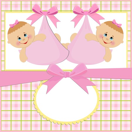 Baby greetings card with twins girls Vector