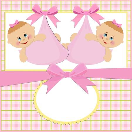 쌍둥이 여자 아기 인사말 카드
