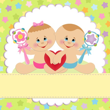 wedding feast: Template for babys postcard with twins
