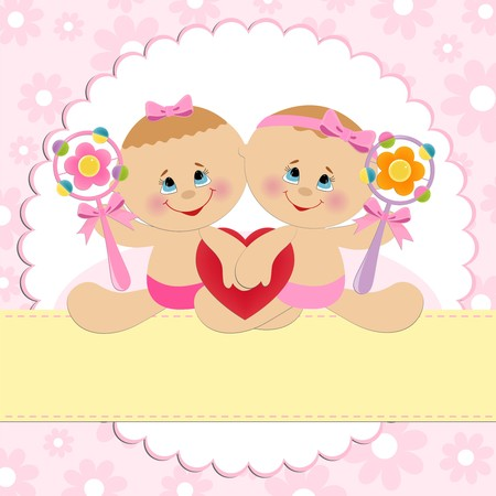 Template for babys ostcard with twins girls Vector