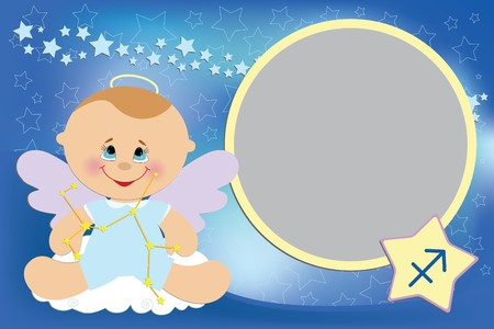 Blank template for babys greetings card or photo frame with zodiac signs Vector