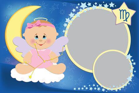 Lege sjabloon voor baby groeten kaart of foto frame met dieren riem tekens Vector Illustratie