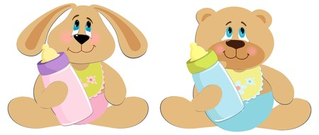 Bear and rabbit toys illustration Vector