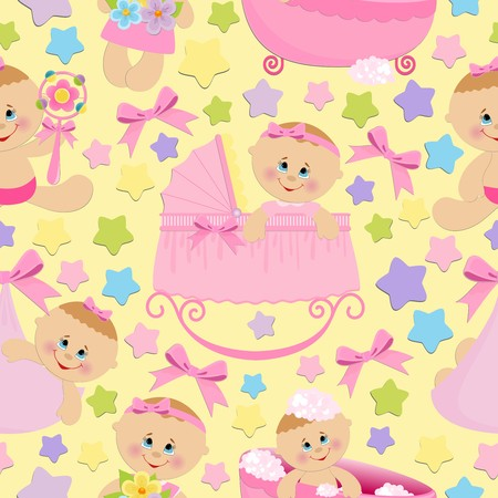 Seamless background with baby girls Vector