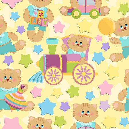 Seamless background with babys objects and toys (EPS10) Vector