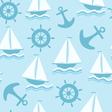 Seamless blue background with marine theme Illustration