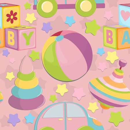 Seamless background with baby's objects in pink colors Stock Vector - 8265128