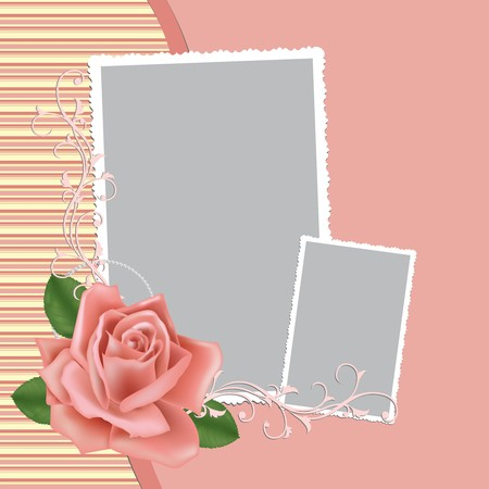 Blank wedding photo frame, postcard or greetings card