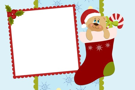 Template for baby's Xmas photo album or postcard Stock Vector - 8265243