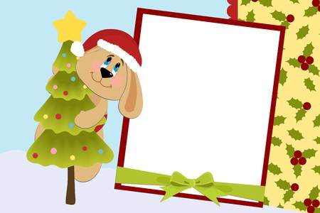 Template for babys Xmas photo album or postcard Vector