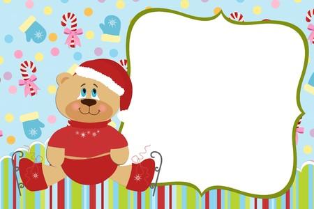 Modèle pour carte postale ou un album photo de Noël du bébé Vecteurs